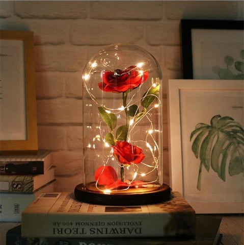 Beauty and Beast Red Rose Lamp