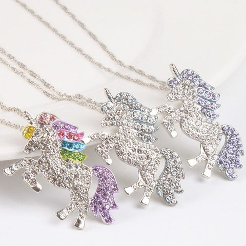 Rainbow Unicorn Crystal Necklace