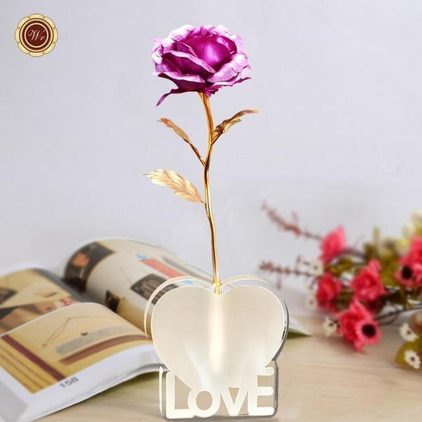 Gold Foil Rose with Love Stand (Different Colours)