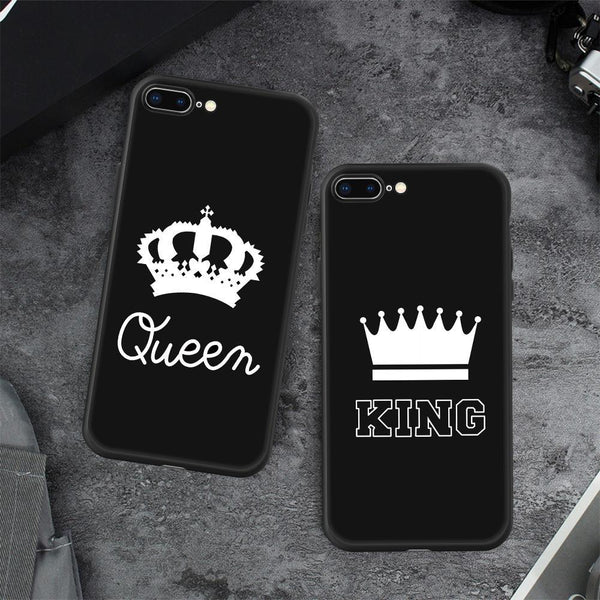 "Bestcouplegifts ""king & Queen"" Couple Black iPhone Cover giftidea gift couple lovers christmas anniversary birthday wedding"