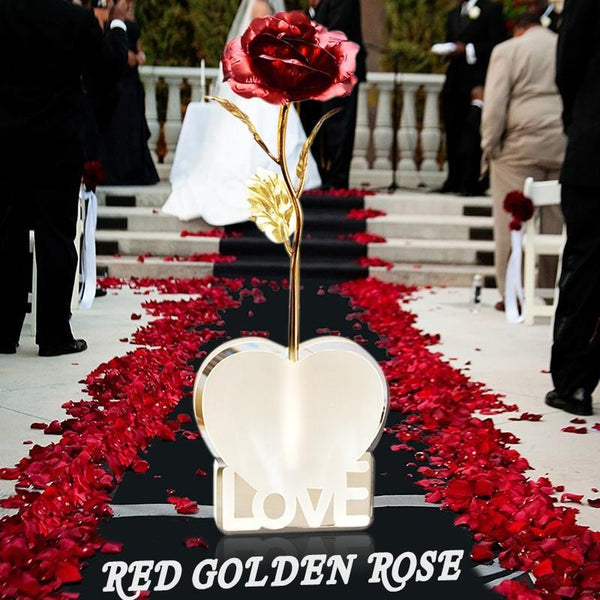 Bestcouplegifts Red Gold Foil Rose with Love Stand (Different Colours) giftidea gift couple lovers christmas anniversary birthday wedding