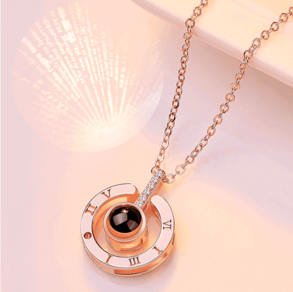 "Bestcouplegifts Rose gold Say ""I love you"" in 100 languages Necklace"