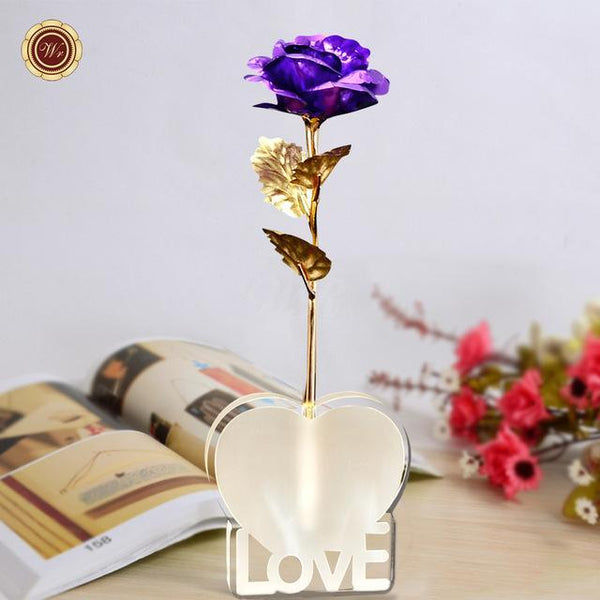 Bestcouplegifts Violet Gold Foil Rose with Love Stand (Different Colours) giftidea gift couple lovers christmas anniversary birthday wedding