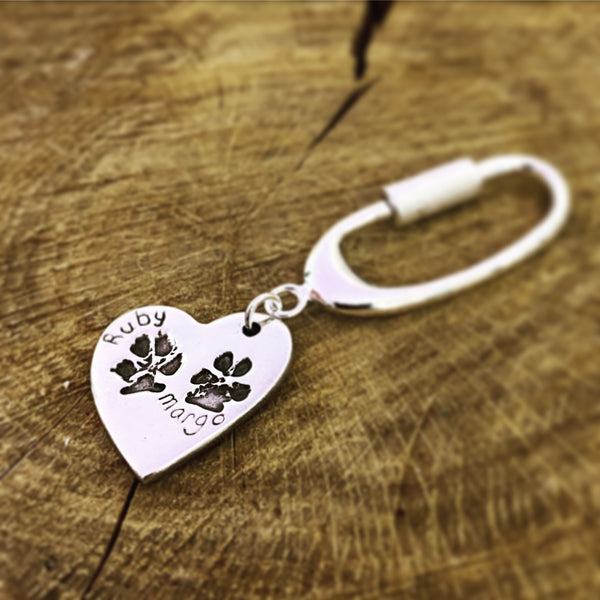 double paw print keyring