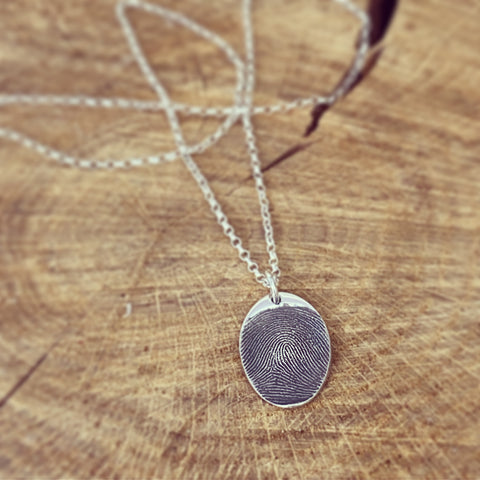 memorial fingerprint oval pendant