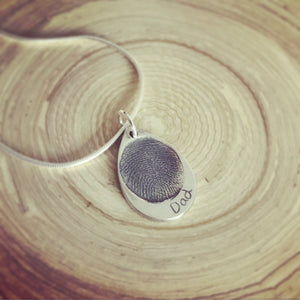 fingerprint memorial teardrop necklace