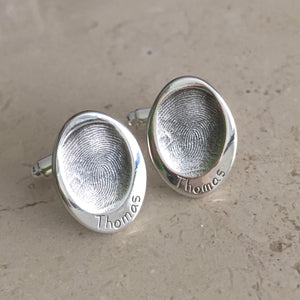 Fingerprint Oval Cufflinks