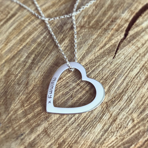 Personalised open heart necklace