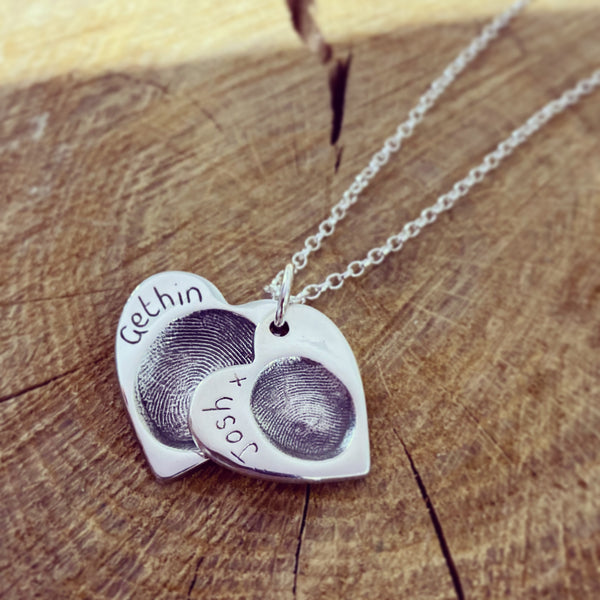 fingerprint cascading necklace
