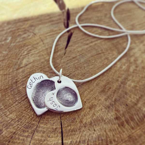 fingerprint cascading hearts necklace