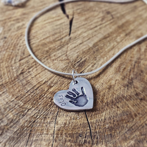 Hand Print Heart necklace
