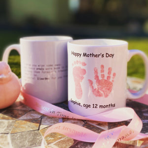 Hand & Foot Print Personalised Mug - Pink