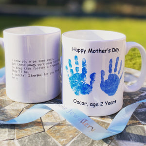Hand & Foot Print Personalised Mug - Blue