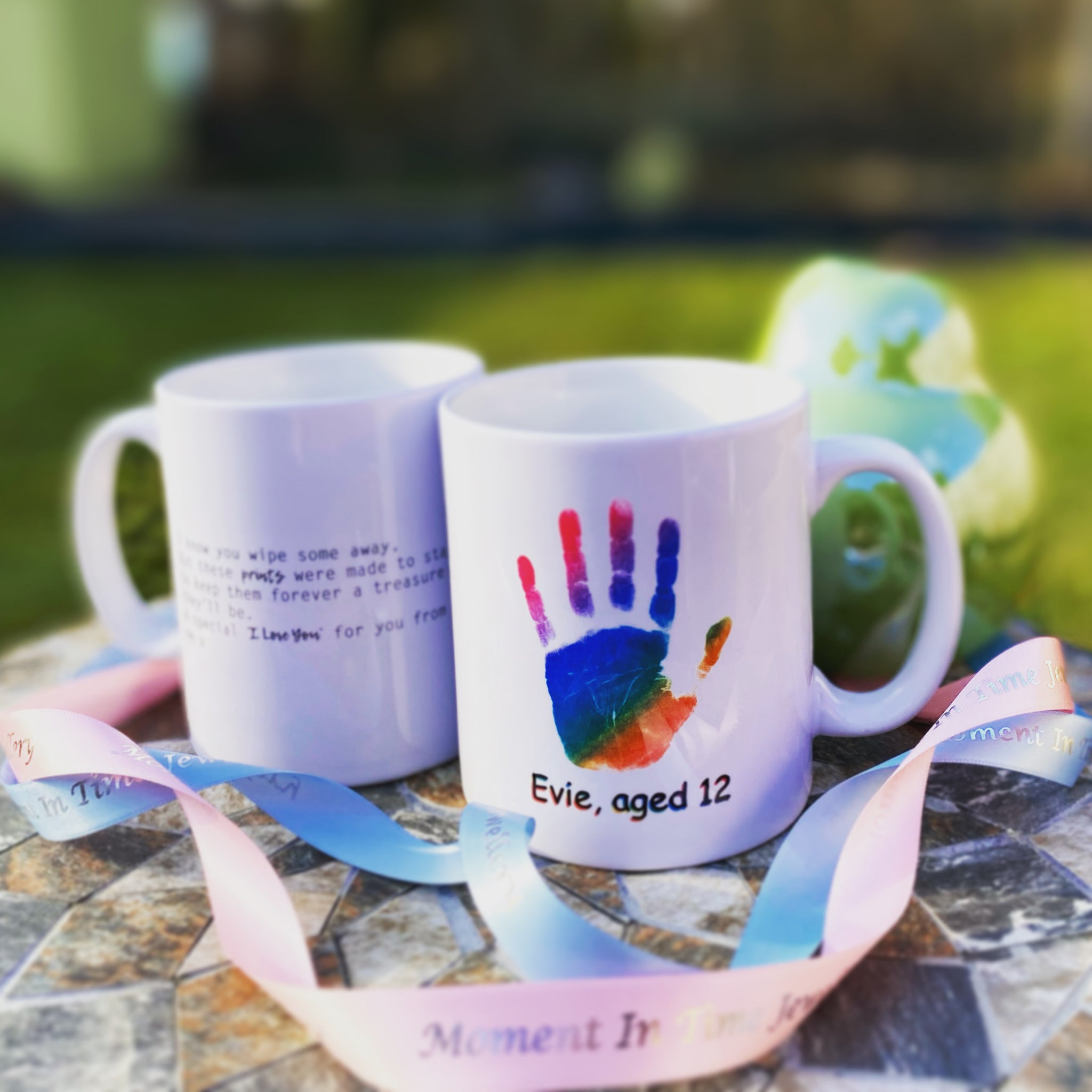 Hand & Foot Print Personalised Mug - Rainbow