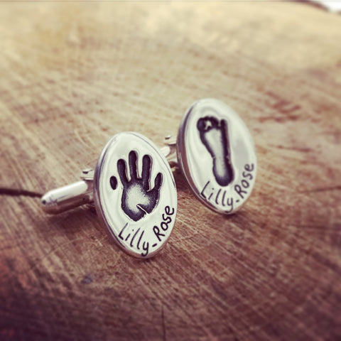 Hand and Foot Print Oval Cufflinks