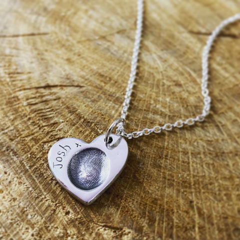 fingerprint heart pendant on a belcher chain