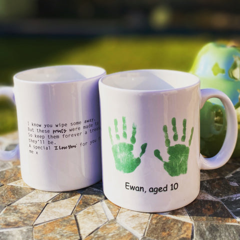 Hand & Foot Print Personalised Mug - Green