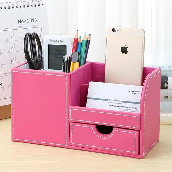 Creative Household Multi-function Tissue Box Desktop Remote Control Storage Box Leather Pumping Tray