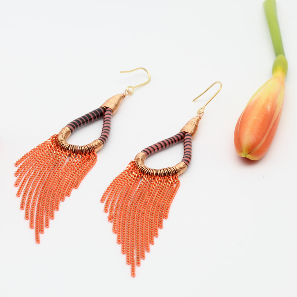 Upcycled Fringed earrings