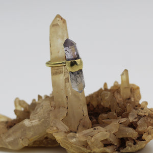 Brandberg Amethyst Quartz brass ring