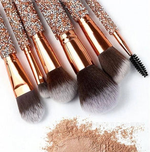 Stunning 10-piece Rose Gold Bling Makeup Brush Set with Case