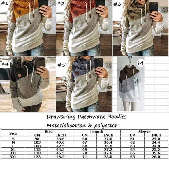 Drawstring Patchwork Hoodie for $28