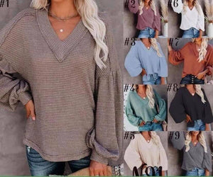 Soft Waffle Knit V-Neck Tunic for $28-available in 9 luscious colors!