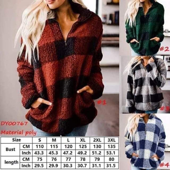 Extra Roomy Buffalo Plaid 3/4 Zip Sherpa Pullover  for $36