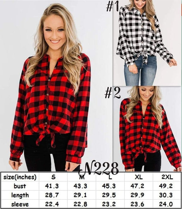 Buffalo Plaid Button Down The Front with Tie Top