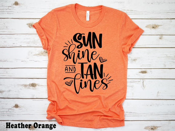 CUTE NEW GRAPHICS -SUNSHINE AND TAN LINES-Super soft Bella Tees