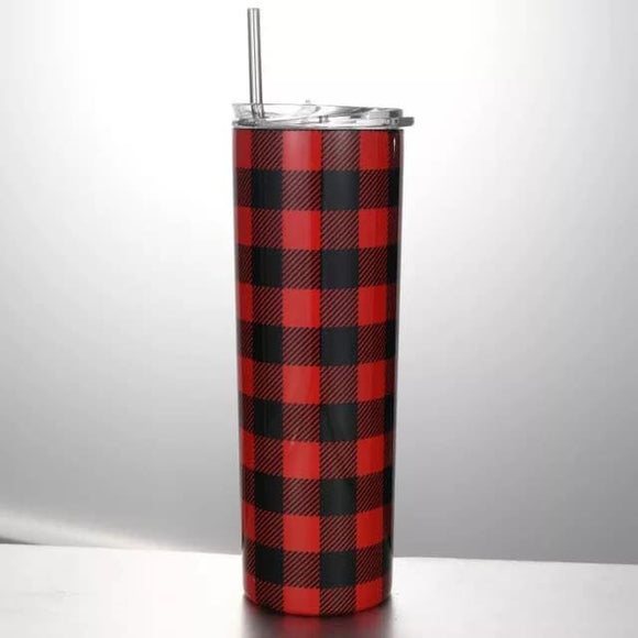 20 oz. Plaid Stainless Steel Cup with lid and straw