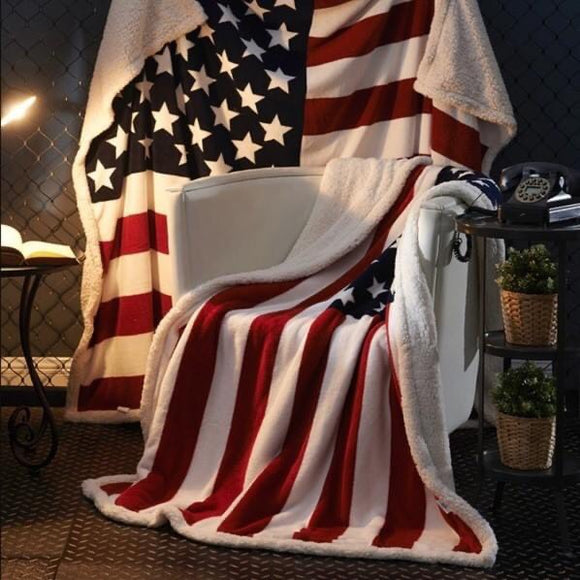 Cuddly American Flag with Sherpa Lining Blanket-available in 2 sizes!