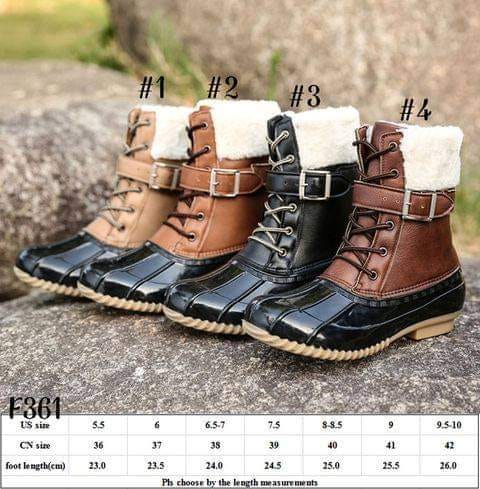 Fur lined laced/buckle Duck Boots