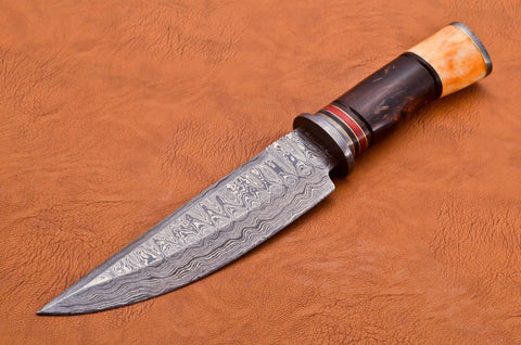 Handmade Damascus Steel Hunting Knife with Coloured Bone Wood Handle