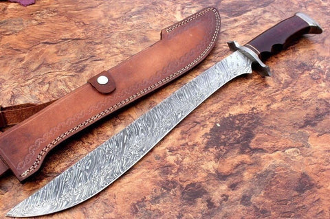 Hunting Sword Knife Custom Damascus Bowie blood grooved Hunting Survivalist