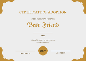 Happy Little People Baby adoption certificate