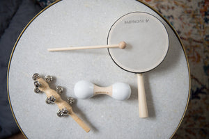 Baby percussion instruments drum, bell shaker,  maraca
