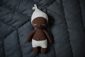 brown crochet doll white hat Happy Little People