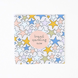 New Baby Greeting Card  Brand Sparkling New stars blue yellow green