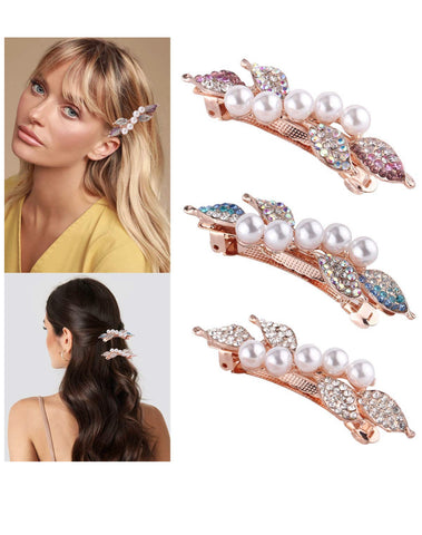 3 Artificial Pearl Hair Pins