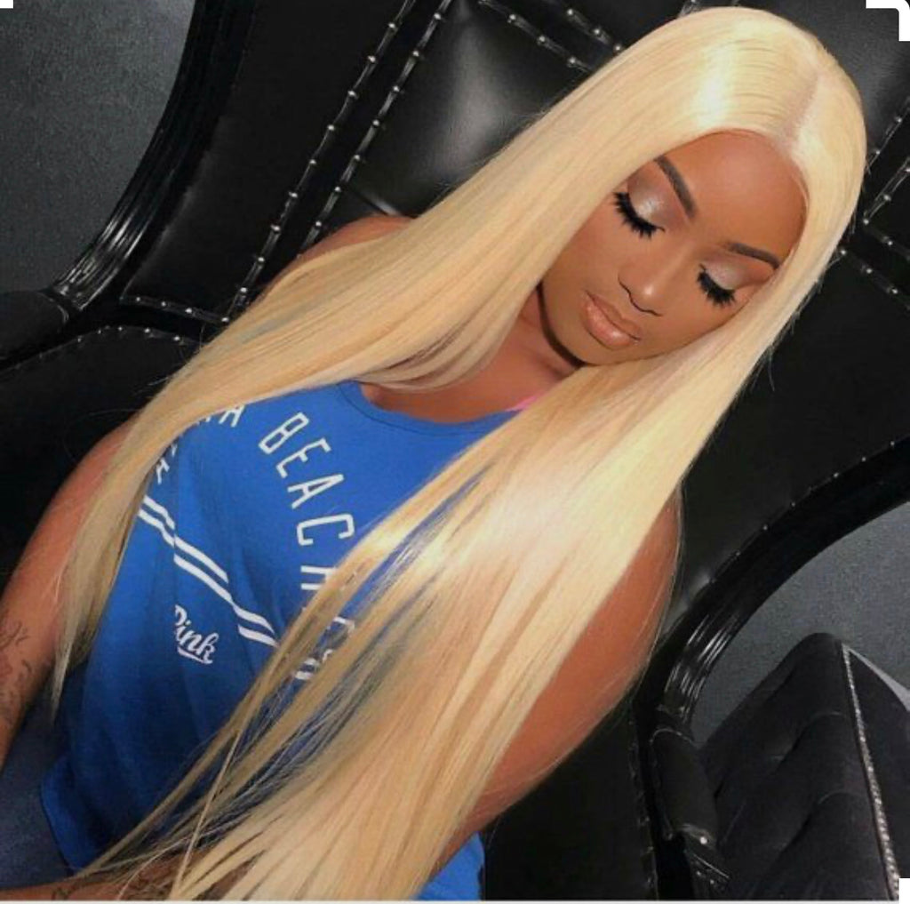 613 PLATINUM BLONDE FULL LACE WIG STRAIGHT AND BODY WAVE