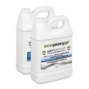 UVPoxy 2 liter kit. Part A resin and Part B hardener from Ecopoxy US