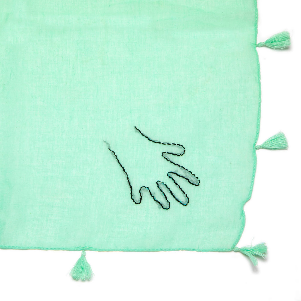 Hand embroidered handkerchief Green Hand