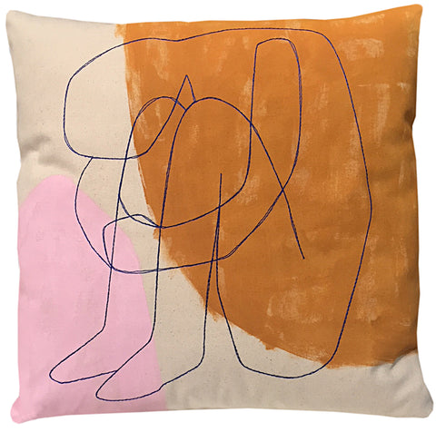 Crouched Figure Pillow, Painted