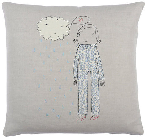 girl with cloud pillow