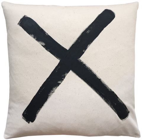 hand painted pillow- black X