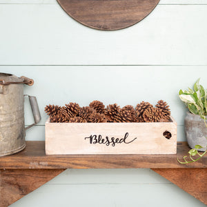 """blessed""  Hand-Lettered Rustic Box"