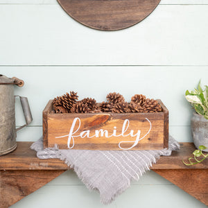 """family"" Hand-Letter Rustic Box"