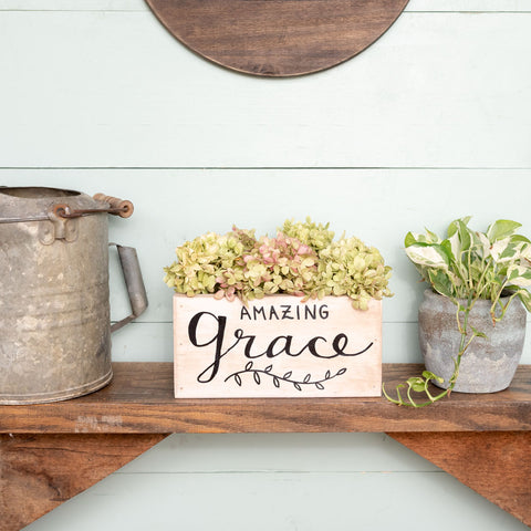"""amazing grace""  Hand-Lettered Rustic Box"