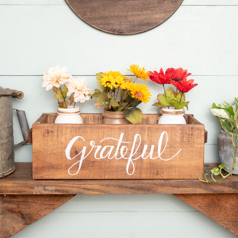 """grateful""  Hand-Lettered Rustic Box"